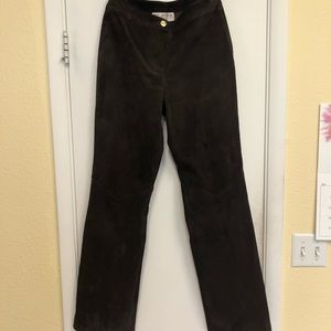 St. John Suede Leather Pants
